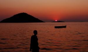 Solnedgång i sjön